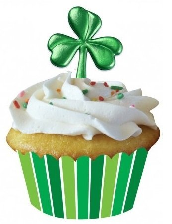 (St Patricks Day - Shamrock Puffy Picks Cupcake Picks Set of 12)