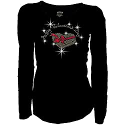 Bling Bling Happy Valentine's Day Rhinestones T-shirt Long Sleeves Basic Shirt (3X-Large)