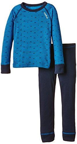 ODLO - conjunto de camiseta de manga larga y pantalón largo térmicos para niño Varios colores - Directoire Blue - Navy New