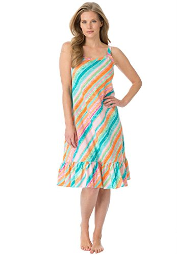 Dreams & Co. Women's Plus Size Knit Chemise (Multi Stripe,1X)