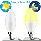 Dusk to Dawn Light Bulb,E12 Candelabra Sensor Light Bulbs Auto On/Off 6W 550Lm Warm White 3000K for Indoor/Outdoor Yard Porch Patio Garage Garden,Pack of 2