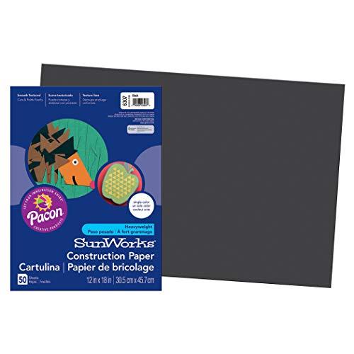 (SunWorks PAC6307BN Construction Paper, Black, 12
