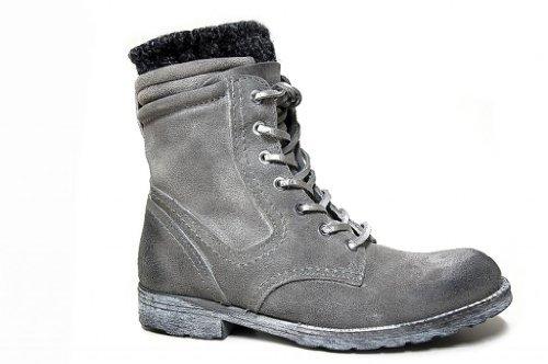 Cafè Noir - Zapatos Mujer Botín Botines Tobillo Cordones Gamuza Gris Deslavado - Talla : 36 - Color : Gris: Amazon.es: Zapatos y complementos