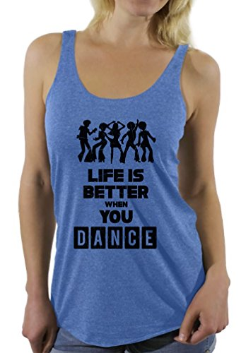 Price comparison product image Awkward Styles Women's Life is Better When You Dance Funny Racerback Tank Tops Blue 2XL