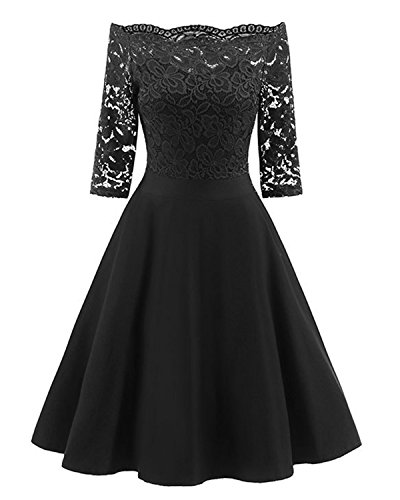 GAMISS Women's Vintage Off Shoulder Cocktail Dress Plus Size Floral Lace 3/4 Sleeves Wedding Dress S-5XL (1 Black, 2XL)