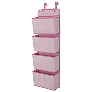 Delta Children 4 Pocket Over The Door Hanging Organizer, Easy Storage/Organization Solution - Versatile and Accessible in Any Room in the House, Barely Pink
