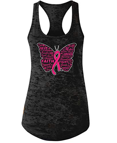Swift Pigeon Apparel Pink Ribbon Butterfly- Breast Cancer Awareness Burnout Racer Tank Top (2XL Black)