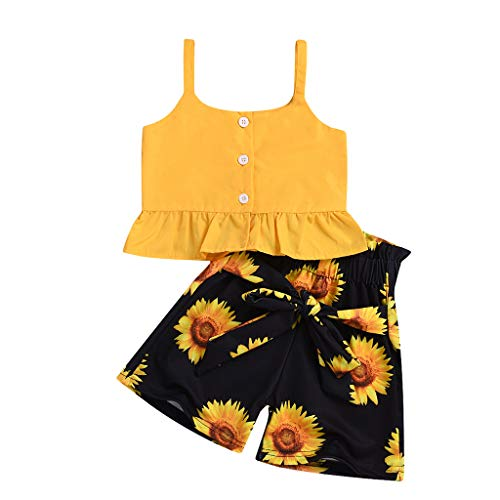 LiLiMeng Toddler Baby Girls Sleeveless Ruffles Button Sleeveless Strap Solid Vest Tops+Sunflower Bow Shorts Outfits Yellow]()
