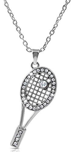 Crystal Tennis Racquet Racket Sports Fan Player Necklace