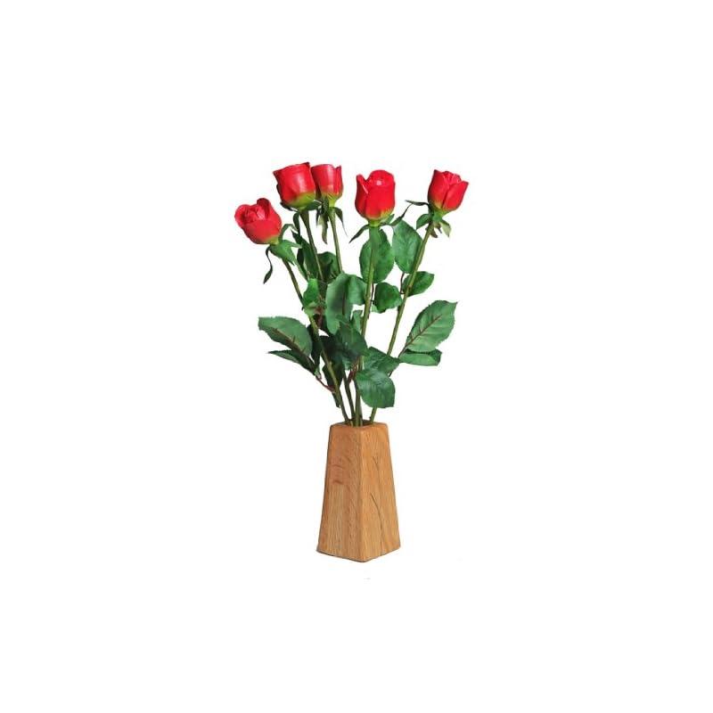 silk flower arrangements justpaperroses 5th wedding wood roses 5-stem bouquet and wood vase