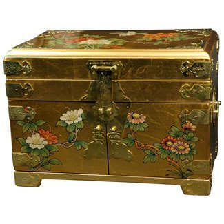 Oriental Furniture Daisi Jewelry Box w/Mirror - Gold Leaf (Gold Leaf Oriental Furniture)
