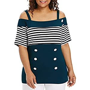 Canifon Women's T-Shirts Short Sleeve Off-Shoulder Casual Blouses Stripe Printing Plus Size Sling Stitching Buttons Summer Retro Tunic Tops
