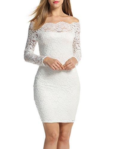 Acevog Midi Vestido Bodycon de Lápiz Encaje Flores Hombro Descubierto para Mujer Blanco