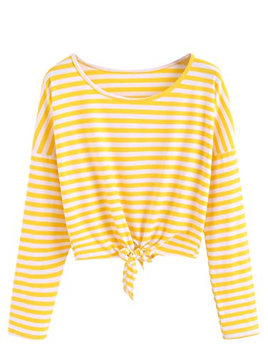 - MAKEMECHIC Women's Long Sleeve Striped Knot Front Casual Crop Tee Top Shirt Yellow S