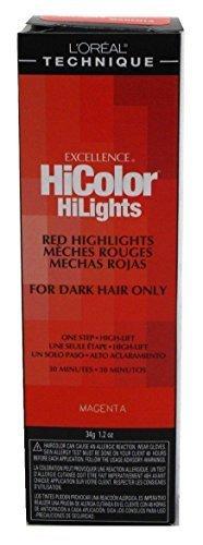 Loreal Excellence Hicolor Hilights Magenta 1.2 Ounce (35ml) (2 Pack) (L Oreal Excellence Hicolor For Dark Hair)