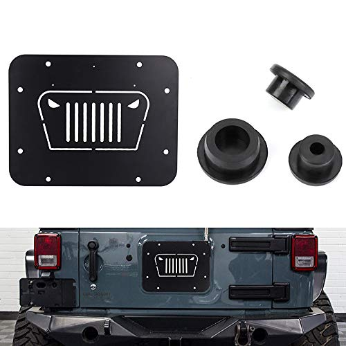 Fits Jeep Wrangler Spare Tire Delete Plate & Tailgate Body Plugs for JK JKU 2007 to 2018