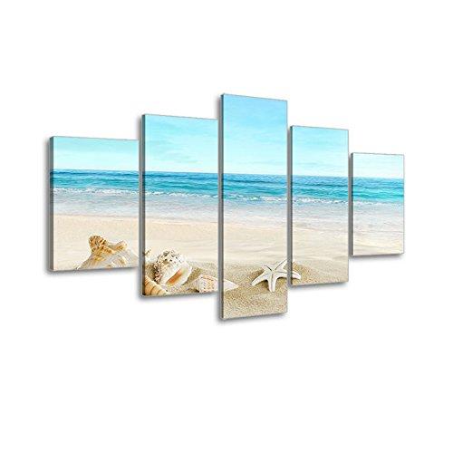 Beach Theme Picture Decor for Bathroom, SZ HD 5 Piece Ocean Painting Canvas Wall Art Prints of Starfish and Seashell on Sandy Seaside (Dark Blue, Bracket Mounted, 1