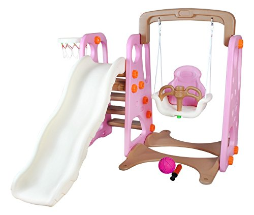 Kinderrutsche Spielplatz Kinderspielturm Glettergerüst Rutsche Schaukel #1447, Farbe:Rosa