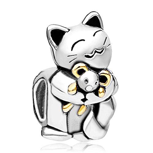 Enamel Cat Bead - Casa De Novia Jewelry Lucky charms Cat Smiling Animal Hugging Mouse Beads for Bracelets