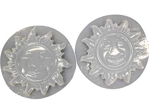 Set of 2 Different Sun Design Plaque Concrete or Plaster Molds 7019