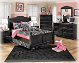Jaidyn Twin Bedroom Set with Youth Poster Bed Dresser Mirror and Nightstand in Black