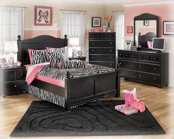 Jaidyn Twin Bedroom Set with Youth Poster Bed Dresser Mirror and Nightstand in Black by Ashley