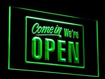 We're OPEN Shop Cafe Bar LED Sign Neon Light Sign Display i001-g(c)