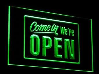 Amazon.com: We're OPEN Shop Cafe Bar LED Sign Neon Light