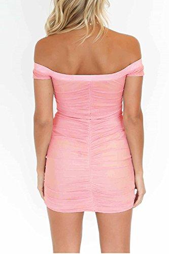 Malla Apretada Vestido Verano Hombro Bodycon Mujeres Las Club Acanalada Pink OW8xwUn0q
