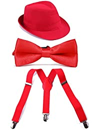 HDE Boys Adjustable Suspenders with Pre-tied Bow Tie and...