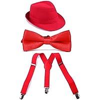 HDE Boys Adjustable Suspenders With Pre-Tied Bow Tie and Short Brim Fedora Hat