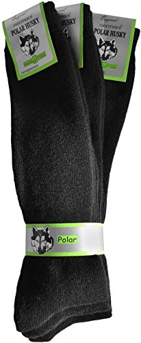 3 Paar Nie wieder kalte Füße! POLAR HUSKY® Wintersocken - super-dick und sehr warm Farbe Kniestrümpfe Schwarz Größe 39/42