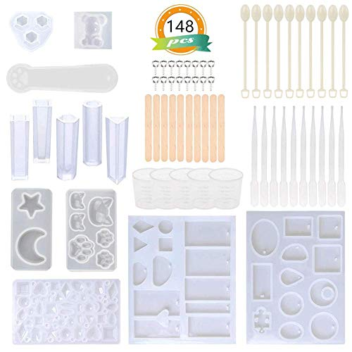 Antunihood Silicone Casting Resin Molds and Tools Set 148 Pcs for DIY Pendant Jewelry Decoration Making. (Resin Metal)