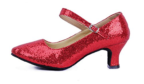 Women's Glitter Latin Ballroom Dance Shoes Pointed-Toe Y Strap Dancing Heels(7, Red)