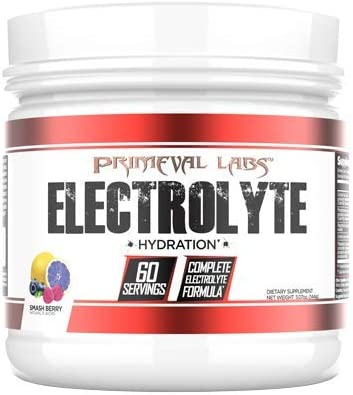 Primeval Labs Electrolyte Premium Electrolyte Supplement Powder for Men and Women, Enhances Performance, Hydration and Metabolism, Zero Sugar, Keto Friendly and Vegetarian, Smashberry, 60 Servings