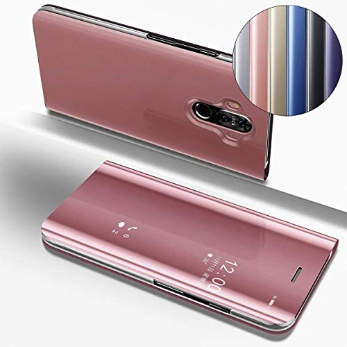ISADERSER Mate 9 Case Huawei Mate 9 Case Stand Luxury View Book Style Flip Electroplate Plating Mirror Makeup Slim Shockproof Full Body Protective Case Cover for Huawei Mate 9 Case Mirror Rose Gold