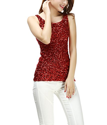 Whitewed Scoop Bodycon Sparkle Glitter Sequin Tanks Tops for Dance Costume Red, Red, X - (Sparkly Red Top)