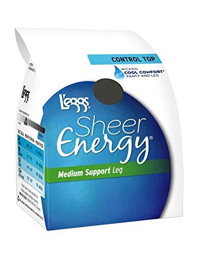 Leggs Womens Sheer Energy Control Top, Reinforced Toe Pantyhose 6-Pack, Q