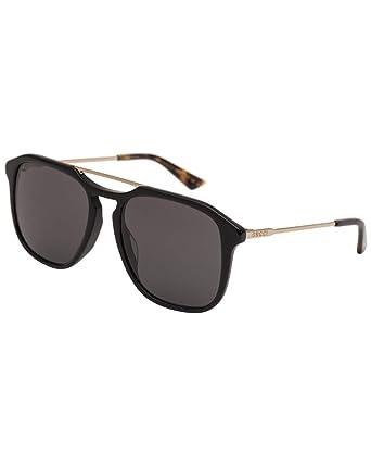 7c17e3416e Image Unavailable. Image not available for. Color  Gucci GG0321S Sunglasses  001 Black Gold ...