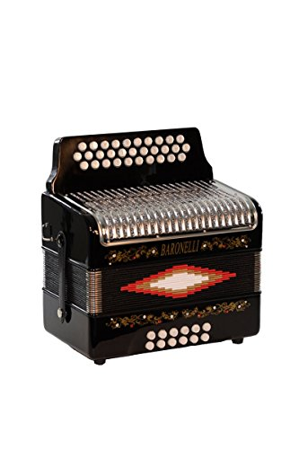 Full Size 31 Button Black Diatonic Accordion Key of SOL G,C,F, with Hardshell Case, Back Straps, Stainless Steel Grill & DirectlyCheap(TM) Translucen Blue Pick by Directly Cheap