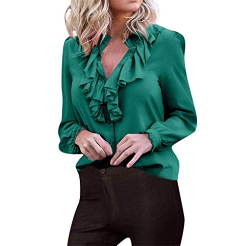 Witspace Women Casual Plus Size Fashion Ruffles V Neck Long Sleeve Solid Tops Blouse
