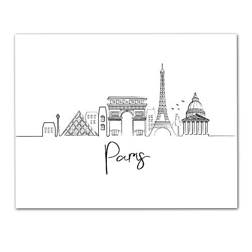 (Paris Skyline Wall Art - Unframed 11 x 14 Black & White Lineart Print - Makes a Great Gift for Family and Friends)