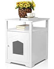 LIVINGbasics™ Cat Litter Box Enclosure, Decorative Cat House with Table, Cat Home Nightstand/End Table, Indoor Pet Crate - White