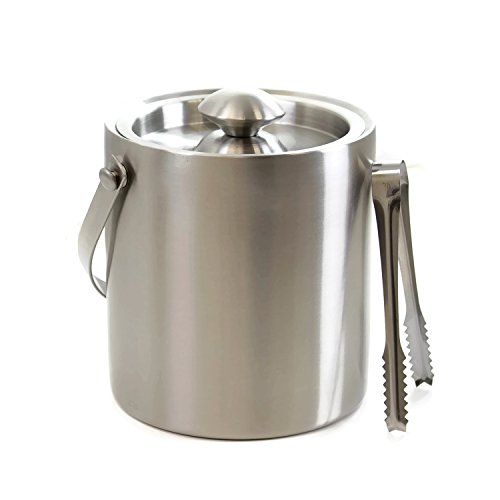 Cheftor 2qt/2L Double Wall Ice Bucket in Brushed Stainless Steel with Handle with Ice Tongs