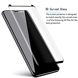 Samsung Galaxy S9 plus Screen Protector, Full Coverage Screen Protector, Tempered Glass 3D Curved HD Clear Anti-Bubble Film for Samsung Galaxy S9 plus-2Pack from Airsspu