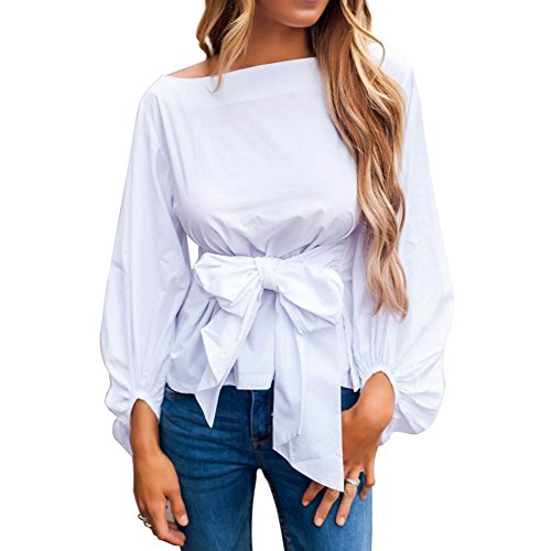 Long Puff Neck Crew Sleeve (Meeshine Women Girls Crew Neck Bowknot Tie Waist Blouse Ruffle Puff Long Sleeve Tunic Shirt Tops)