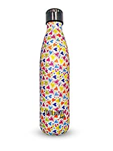 CoolNHot Stainless Steel Vacuum Insulated Water Bottle | Leak-Proof Double Walled Cola Shape Bottle | Keeps Drinks Cold for 24 Hours & Hot for 12 Hours (Heart)