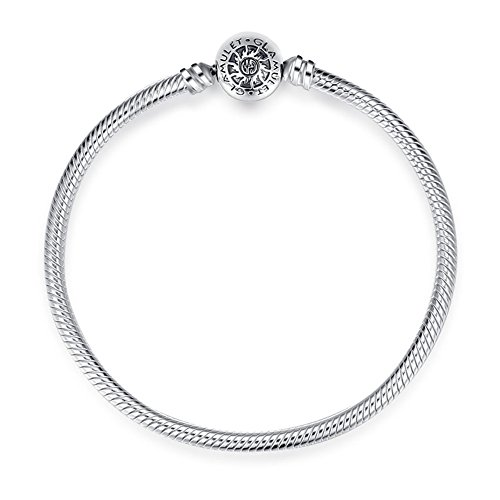 Glamulet 925 Sterling Silver Snake Bracelet Snap Clasp Fits Charms Beads Ideal Gift 17cm -