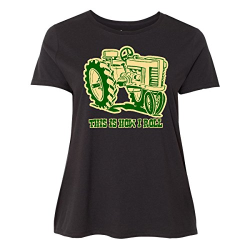 Farm Equipment T-shirt - inktastic This is How I Roll Tractor Women's Plus Size T-Shirt 3 (22/24) Black
