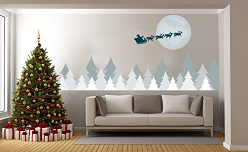 Santa Claus Reindeer Christmas North Pole - Mural Wall Decal Sticker For Home Room Door Car Laptop (Wide 58